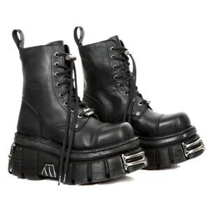 Mili gotici unisex da Scarpe New Stivali motociclista M militari 083 neri Rock s37 qnBFEw