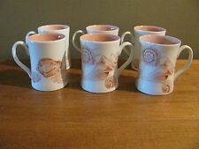 """Set of 6 Fitz and Floyd """"Coquille"""" Collection Cups/Mugs Bone China"""