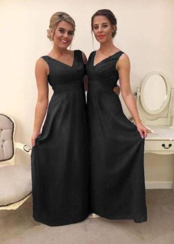 New Chiffon V Neck Maxi A-line Bridesmaid Dress Formal Wedding Party Ballgown UK