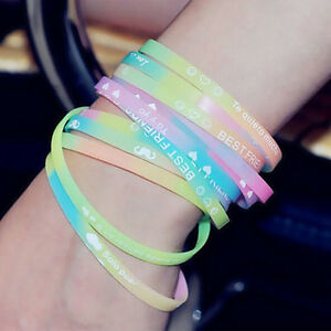 Details About Charm Glow In The Dark Luminous Silicone Rubber Wristband Wrist Band Bracelet