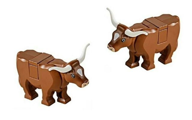 city lego Brown Cow minifigure Animal W// Horns new minifig pet for Farm