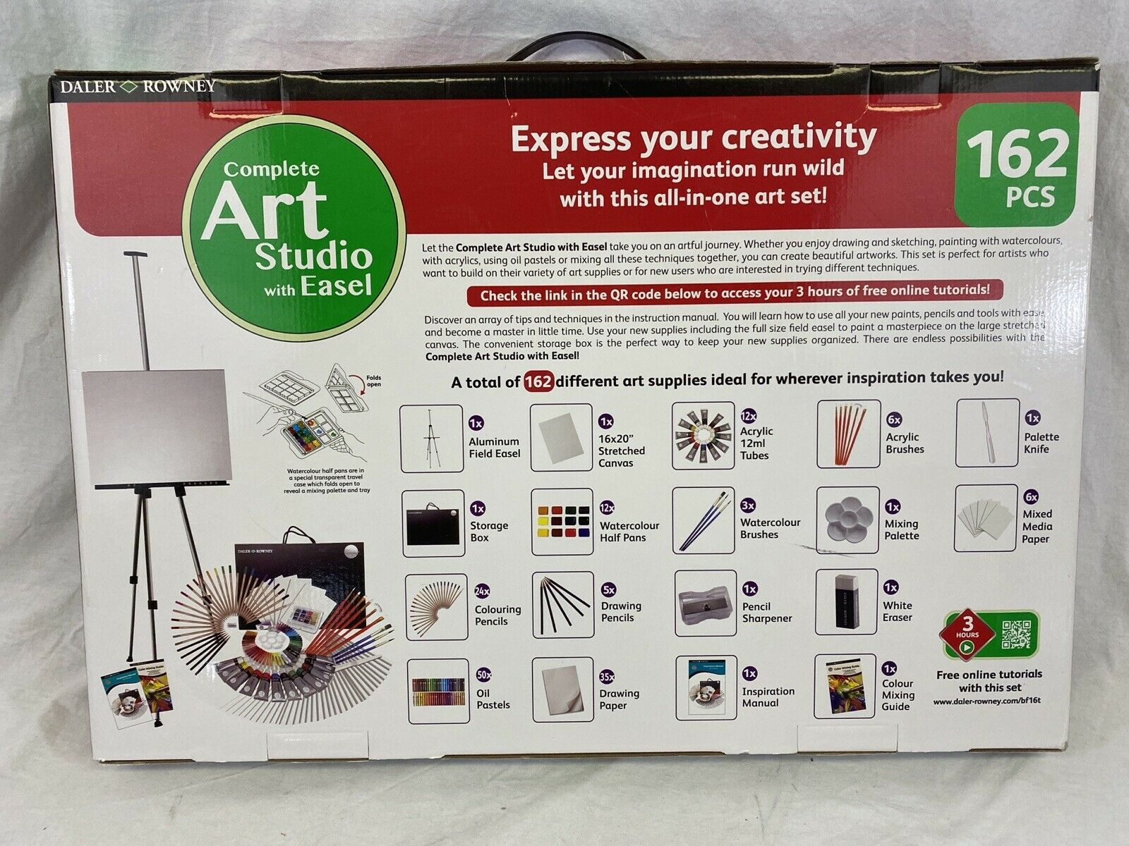 Kit Daler Rowney 111 Piece All Media Art Studio Paint Set with Easel Canvas