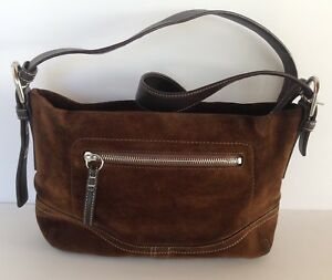 Details About Vintage Coach Dark Brown Suede Leather Purse Bag Handbag F11514 Pre Owned