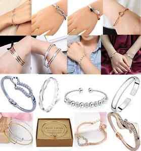 gold-silver-heart-crystal-rhinestone-beaded-charm-Open-bangle-bracelet-ONE-hs0