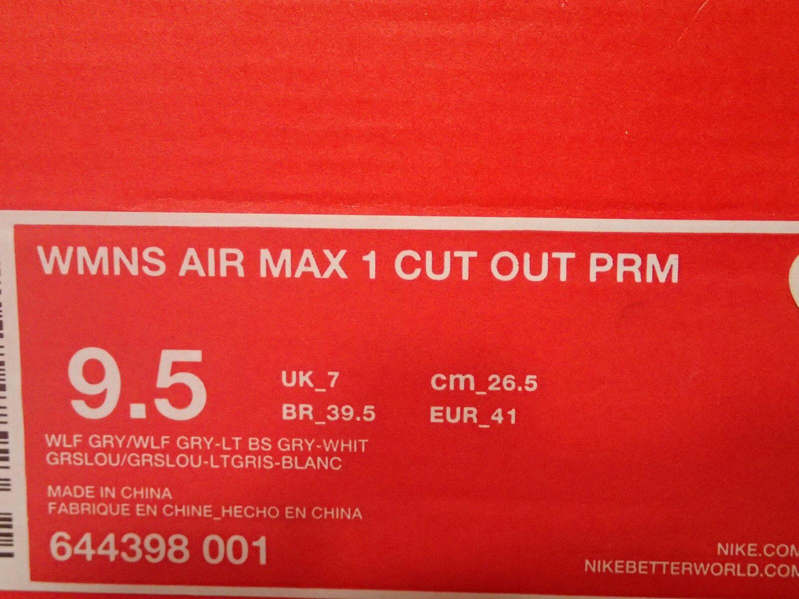 Donna Nike Air Grigio Max 1 Cut Out Premium Grigio Air Lupo Bianco Taglie 9.5 (644398-001) 075bd8