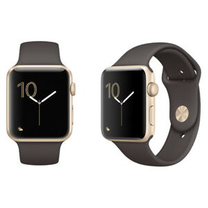 super cute 72e49 a0ae0 Details about Apple Watch Sport 42mm Gold Aluminum Case Cocoa Sport Band -  Very Good Condition