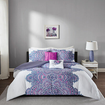 Purple White Paisley Stripe Floral Dots 4pc Comforter Set Twin XL Full Queen Bed