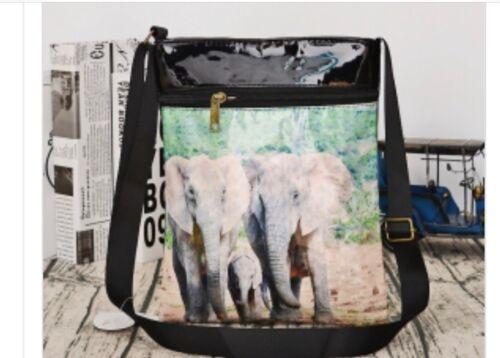 Black patient Shoulder Bag With Elephants Pictured On Front
