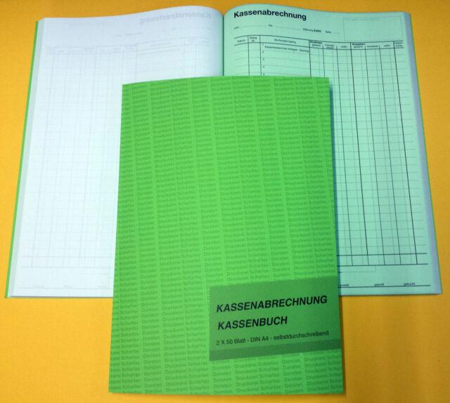 22501 SELBSTDURCHSCHREIBEND Kassenabrechnung Kassenbuch A4 2x50 Bl
