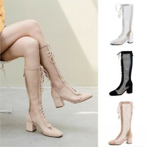 Women Chunky Med Heel Lace Up Mesh