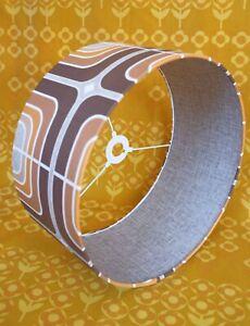 Original-Wallpaper-Retro-Lampshade-40cm-Drum-60s-70s-Geometric-Brown-Orange