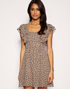 OASIS-Ruffle-Heart-Tan-Chiffon-Lined-Summer-Holiday-Floaty-Tea-Mini-Dress-UK-12