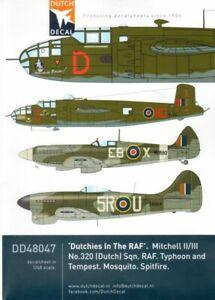 """à Condition De Dutch Decal 1/48 """"dutchies Dans La Raf"""" B-25 Mitchells Nº 48047-afficher Le Titre D'origine"""