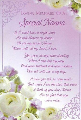 Nanna Graveside Memorial Verse Card Keepsake Remembrance Cemetery Female