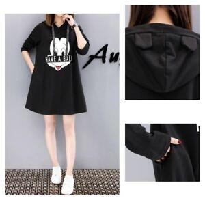 MICKEY MOUSE Disney BLACK Ears Top Sweater Dress Hooded T SHIRT PLUS ...