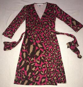Diane-von-Furstenberg-Vintage-Womens-Leopard-Print-Wrap-Dress-Size-4