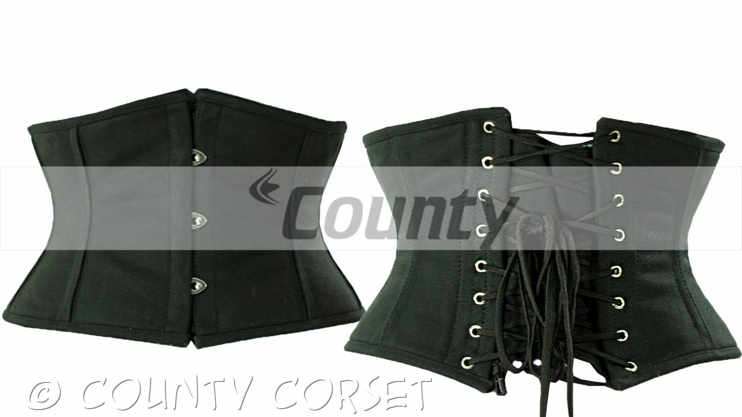 "Cincher Shaper Steel Bone Waistbust Black Cotton Corset ""Shopping Helps Charity"""