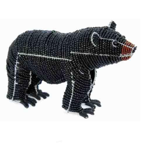 Wildes Tier Beadworx Geperlt Handgefertigt ~ Perlen Arbeits Black Bear