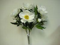 Cream Magnolia Bush Artificial Satin Flowers 22 Bouquet 371cr
