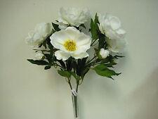 "CREAM Magnolia Bush Artificial Satin Flowers 22"" Bouquet 371CR"