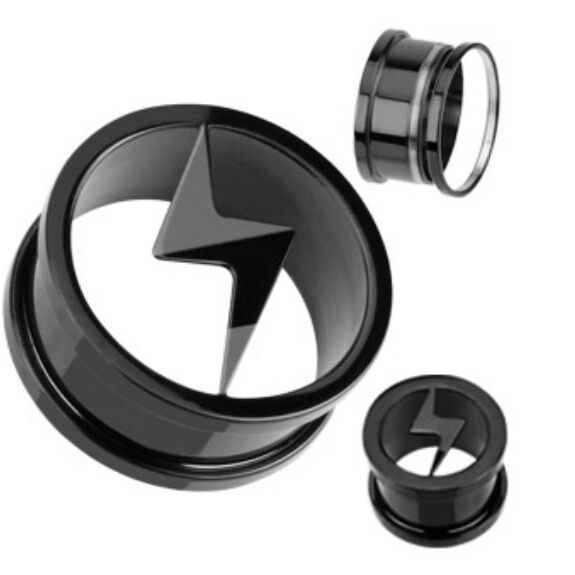 PAIR (2) Titanium Anodized Lightning Bolt EAR PLUGS Screw-Fit Tunnels GAUGES