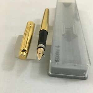 Parker 75 14k G.F Cap&Barre(Gold Filled) FP Flate End 14k Fine Excellent USA BOX