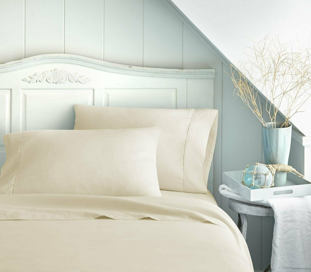 BEST BEDDING COLLECTION 100% Egyptian Cotton 1000 TC USA Dimensiones Ivory Solid