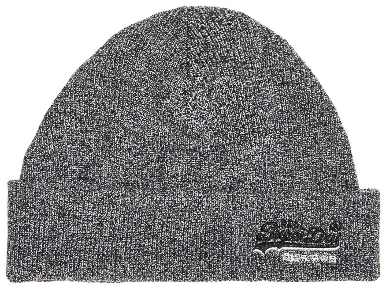 SUPERDRY. Orange Label Beanie, Mütze, Wintermütze - grau/schwarz