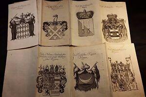 1751 HERALDRY - Lot of 7 COAT OF ARMS ENGRAVINGS 1751