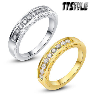 TTstyle Two Tone Stainless Steel Wedding Comfort fit Band Ring