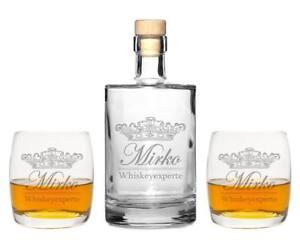 Details zu 2 Whiskeygläser mit Karaffe und Gravur \