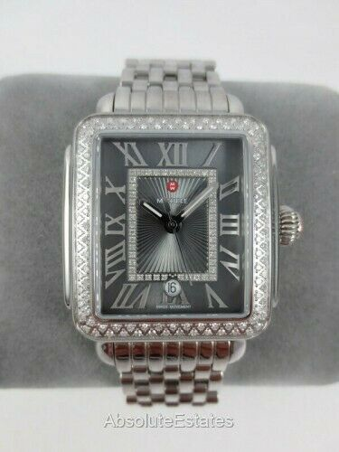 Diamond Box Xl >> New Michele Deco Madison Grey Silver Diamond Watch Mw06t01a1124 Nib Box