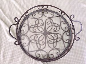 Vintage-Vanity-Table-Centerpiece-Tray-Glass-Unique-Rare