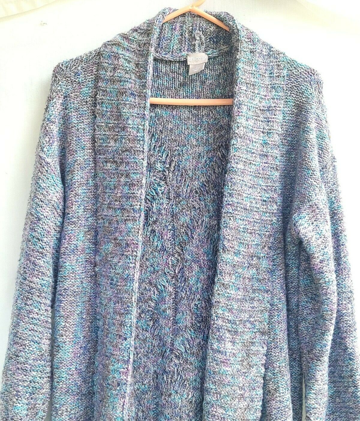 Chico's Chunky Knit Textured Sweater Open Front S… - image 1