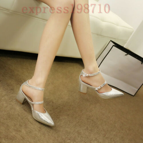 New Womens Bandag Cuban Heel Party Pointy Toe Mary Janes Pump Shoes US Plus Size