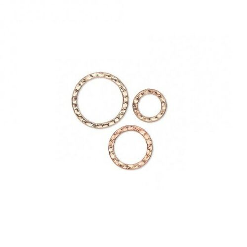 10 Components Hammered double sided Copper plated steel Flat Round 12,20,25,30mm