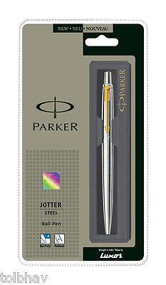 Parker Jotter SS Steel GT Gold Trim Ball Point Pen, Fine Nib, 0.8mm Blue Ink New