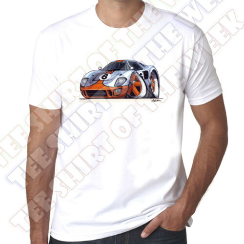 WickedArtz Cartoon Car Sky Blue Ford GT40 100/% Cotton White  T-shirt