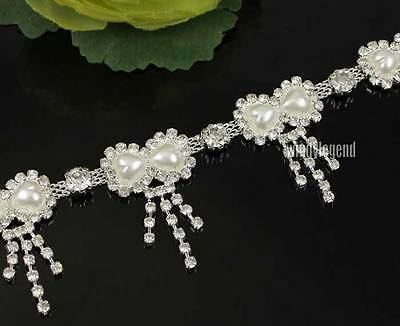 1 YARD CLEAR RHINESTONE CRYSTAL WHITE PEARL DOUBLE HEART DANGLING TASSEL TRIM