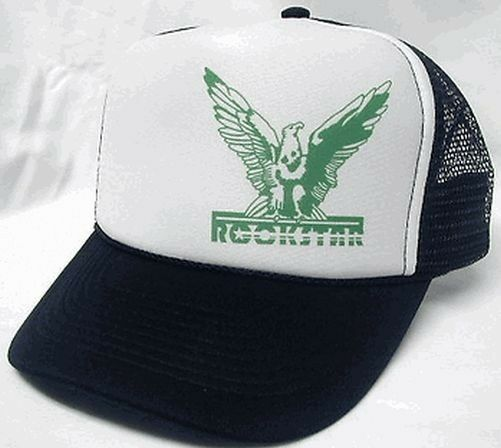 Rockstar Left Side Trucker Hat Mesh Hat Snapback Hat Black  d7ec9c6529c