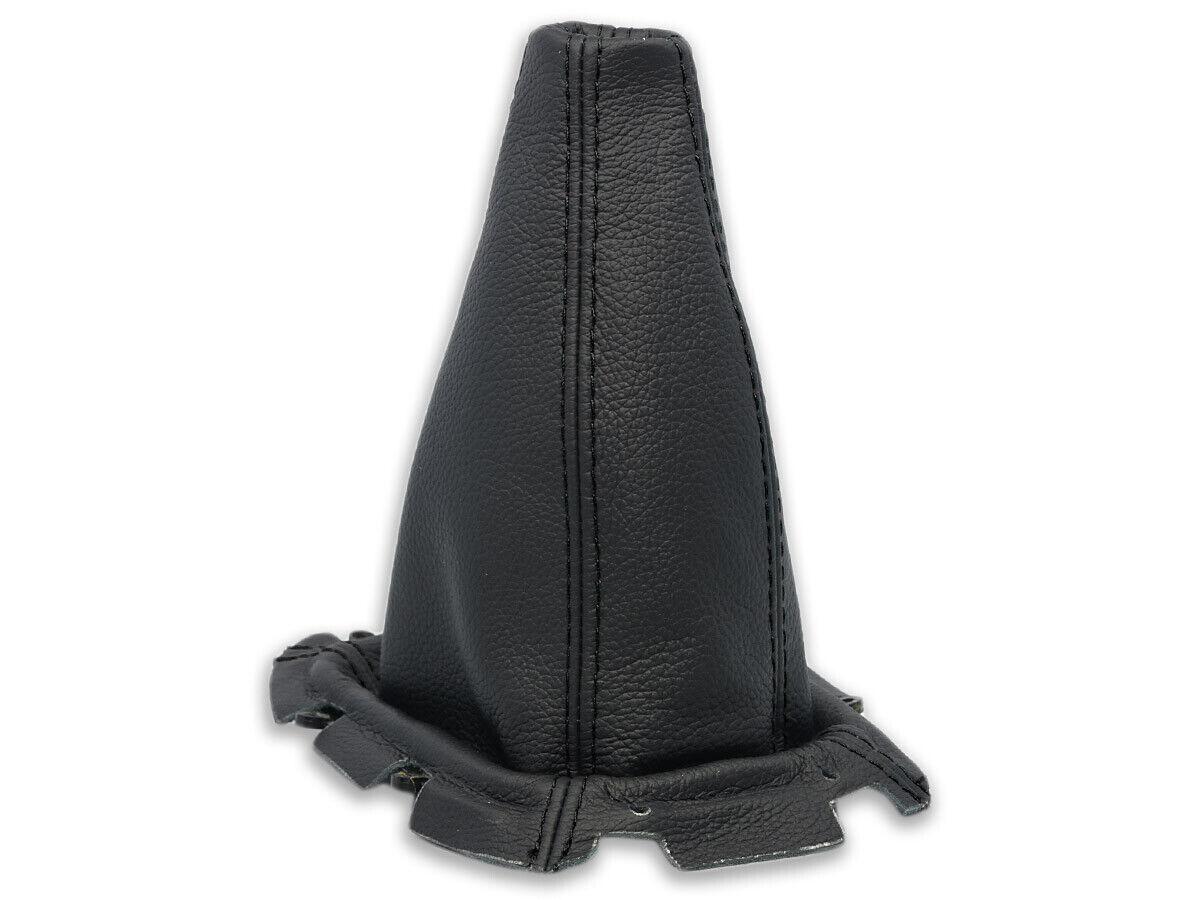 BLACK STITCH REAL LEATHER GEAR GAITER+PLASTIC FRAME FITS SUBARU IMPREZA 98-00