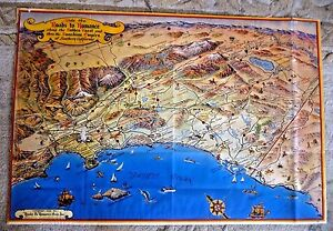 Vintage San Diego Map.Vintage Cartoon Map Of Southern Cal San Diego Los Angeles Las Vegas