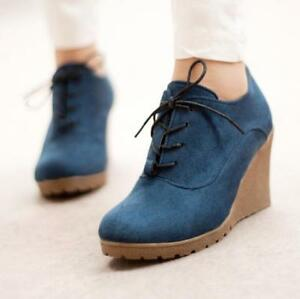 Retro-Womens-Wedge-Heel-Shoes-Lace-Up-Suede-Platform-Pumps-Casual-Round-Toe-V133