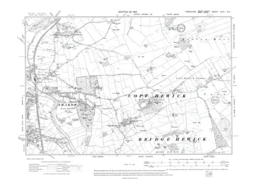 E Old Map of Ripon Repro 119 NE Yorkshire -1910 Sharow Hutton Conyers