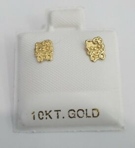 ff044ef91 Child's Baby Kids Hello Kitty Sanrio Stud Earrings 10K Yellow Gold ...