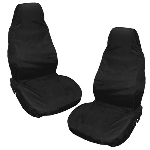 Top Heavy Duty Front Seat Covers Universal Car Van Black Waterproof Protectors