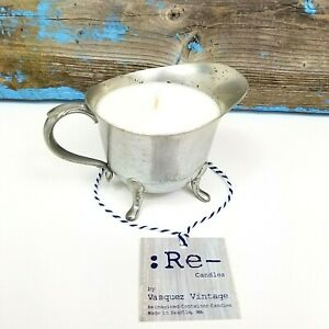 Vintage-Paul-Revere-Benedict-454-Pewter-Repurposed-Candle-Metal-Footed-Creamer