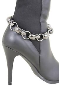 Women-Pewter-Boot-Chain-Gothic-Bracelet-Heel-Shoe-Skull-Jewelry-Shiny-Dark-Charm