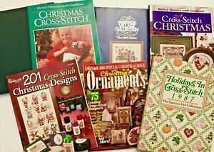 LOT-8-Christmas-Cross-Stitch-Charts-Books-HC-PB-Santa-Stockings-Ornaments-X71