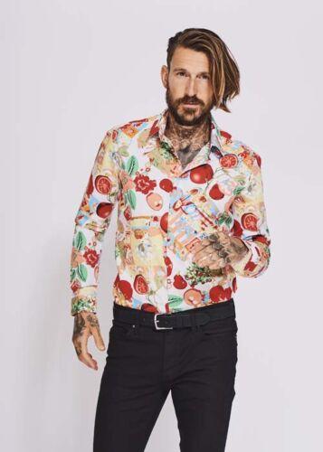 DEVIL/'S ADVOCATE Slim Fit Fruit Salad Print Shirt  Size M; L